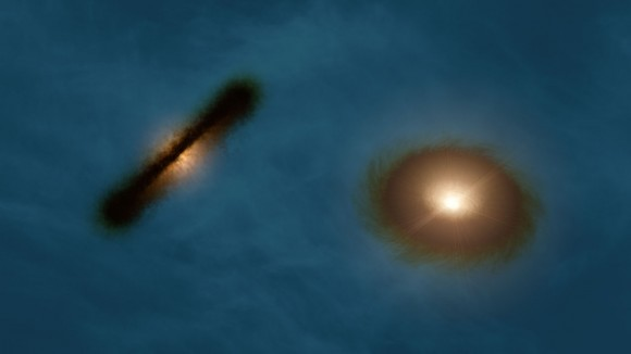 Artist's impression of the discs around the young stars HK Tau