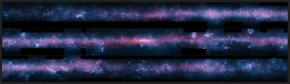 A spectacular new image of the Milky Way has been released to mark the completion of the APEX Telescope Large Area Survey of the Galaxy (ATLASGAL). The APEX telescope in Chile has mapped the full area of the Galactic Plane visible from the southern hemisphere at submillimetre wavelengths — between infrared light and radio waves. The new finely detailed images complement those from recent space-based surveys. The pioneering 12-metre APEX telescope allows astronomers to study the cold Universe: gas and dust only a few tens of degrees above absolute zero. The APEX data, at a wavelength of 0.87 millimetres, shows up in red and the background blue image was imaged at shorter infrared wavelengths by the NASA Spitzer Space Telescope as part of the GLIMPSE survey. The fainter extended red structures come from complementary observations made by ESA's Planck satellite. In this case the image has been cut into three pieces for convenience.