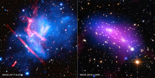 "These two galaxy clusters are part of the ""Frontier Fields"" project, which uses some of the world's most powerful telescopes to study these giant structures with long observations. Galaxy clusters are enormous collections of hundreds or thousands of galaxies and vast reservoirs of hot gas embedded in massive clouds of dark matter. These images contain X-ray data from Chandra (blue), optical light from Hubble (red, green, and blue), and radio data from the Very Large Array (pink)."