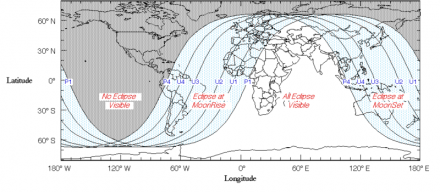 Visibility map of the Lunar Eclipse of June 15th, 2011. Image credit: Fred Espenak/NASA/Wikipedia.